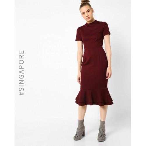 dd98823bfb9e Buy MDS Sheath Dress with Flounce Hem online | Looksgud.in