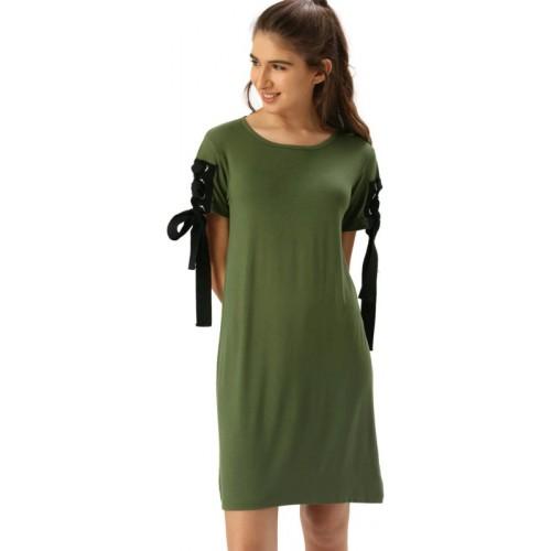 Dressberry Green Viscose Casual T Shirt Dress