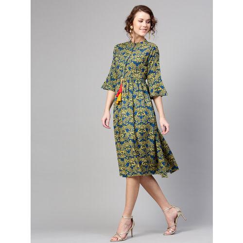 Sassafras Women Fit and Flare Brown Dress