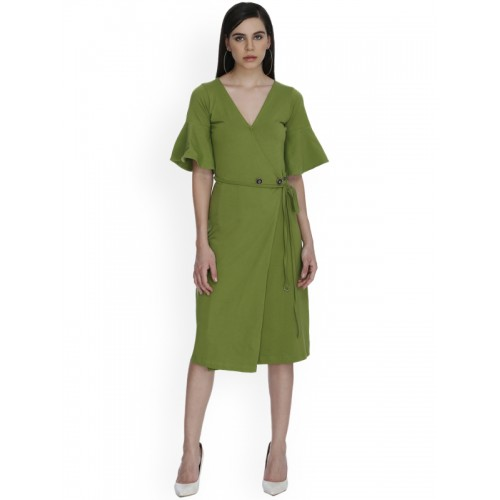 c26a52f634d8 Buy THE SILHOUETTE STORE Women Green Solid A-Line Dress online ...