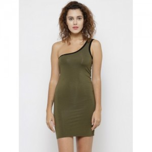 fb6186138f7 FOREVER 21 Women Olive Green Solid One-Shoulder Bodycon Dress
