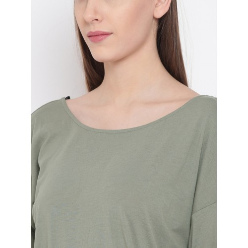 FOREVER 21 Women Olive Green Solid T-shirt Dress