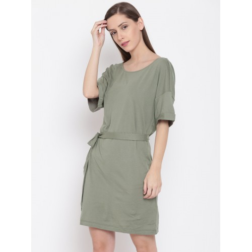 Buy FOREVER 21 Women Olive Green Solid T-shirt Dress online ... 4092eecc31