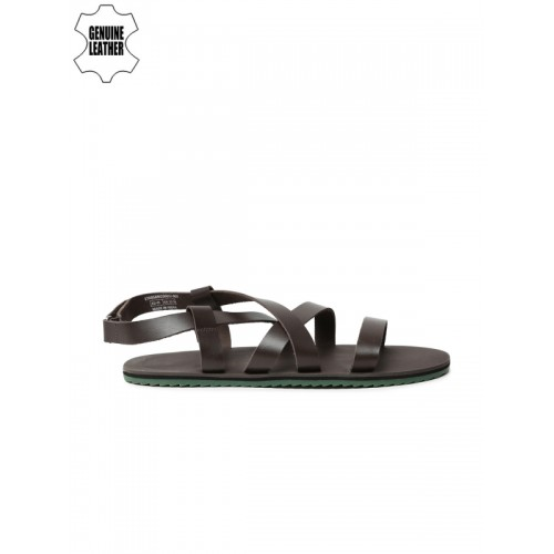 United Colors of Benetton Men Brown Leather Sandals
