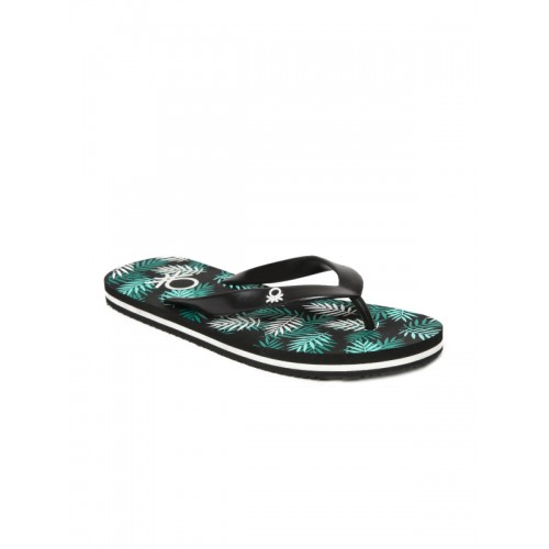 United Colors of Benetton Men Black & Green Flip-Flops