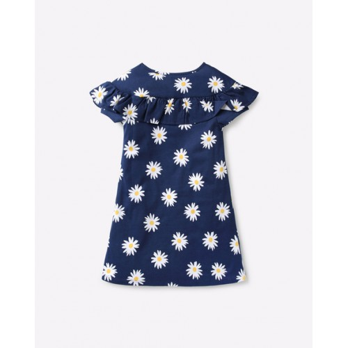 UNITED COLORS OF BENETTON Floral Print Dress with Ruffled Overlay