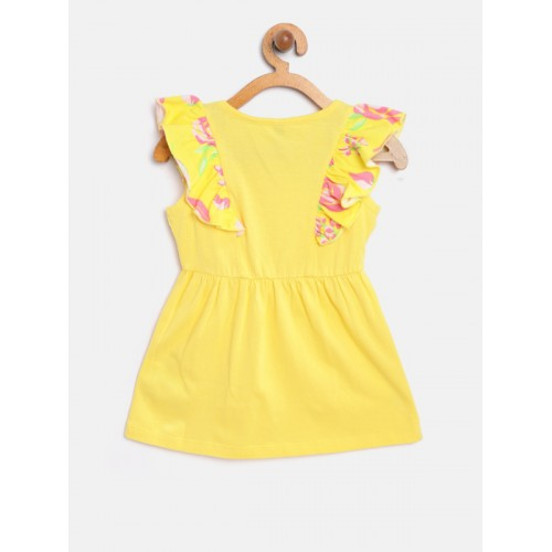 United Colors of Benetton Yellow Cotton Solid A-Line Dress