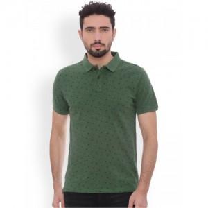 Basics Green Printed Slim Fit Polo T-shirt