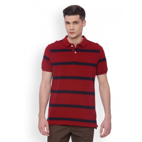 Basics Men Red Striped Slim Fit Polo Collar T-shirt