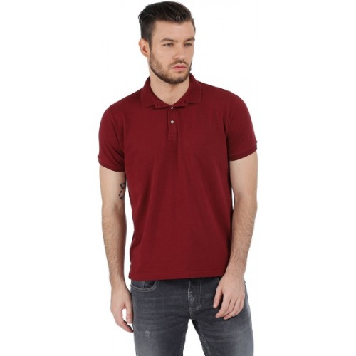 BASICS Muscle Fit Red Lycra Polo T Shirt