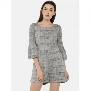 ONLY Women Grey Checked Marvel Playsuit