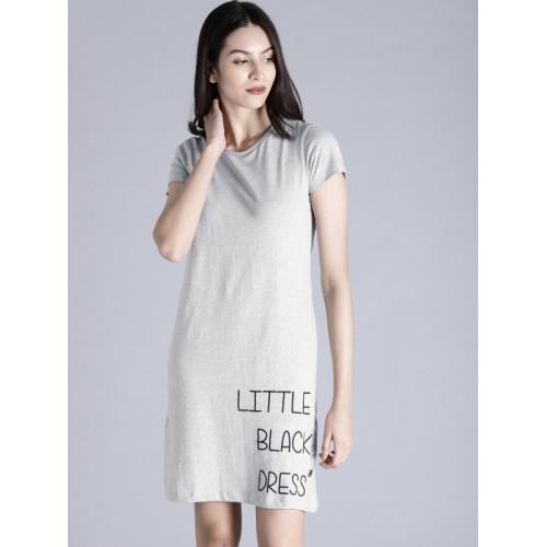 Kook N Keech Women Grey Melange Printed T-shirt Dress