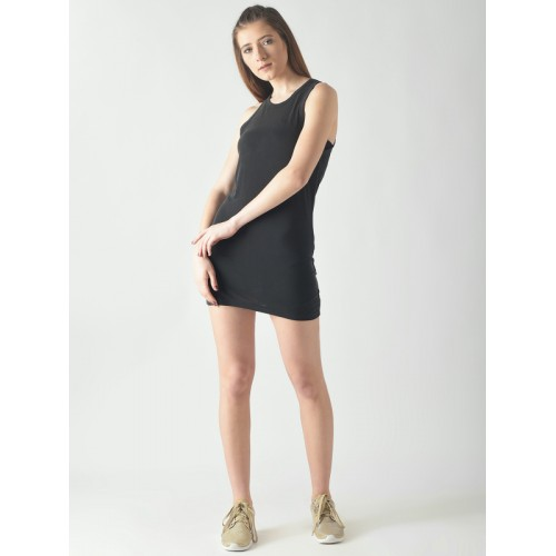 FOREVER 21 Women Charcoal Grey Solid T-shirt Dress