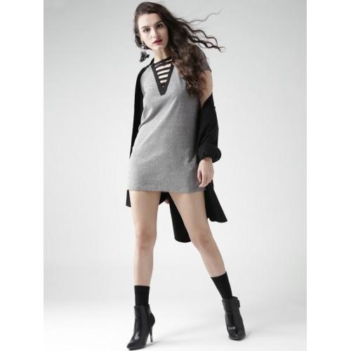 FOREVER 21 Women Grey Melange Solid T-shirt Dress