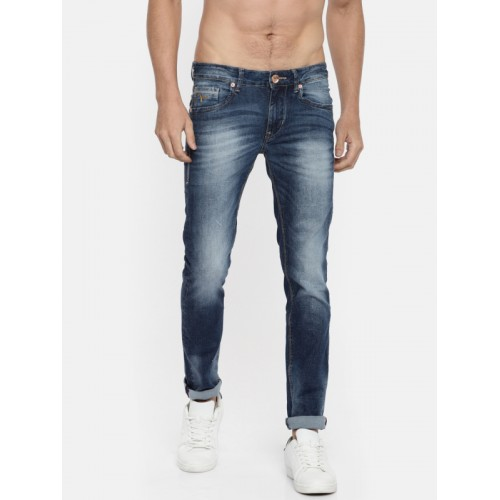 Flying Machine Men Blue Skinny Fit High-Rise Low Distress Stretchable Jeans