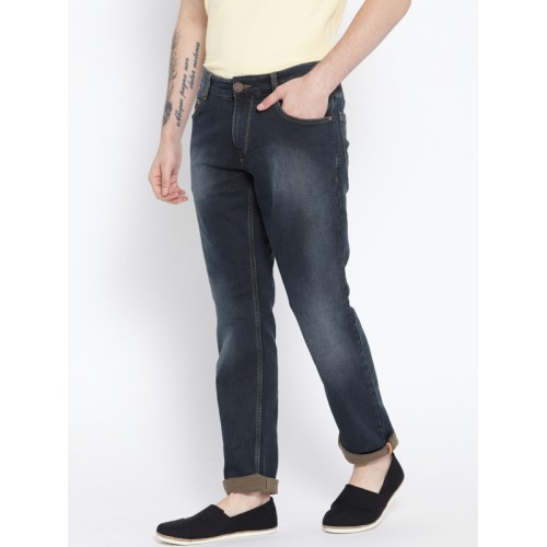 John Players Men Navy Blue Skinny Fit Mid-Rise Clean Look Stretchable Jeans