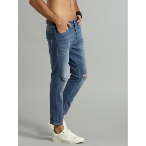 Roadster Men Blue Skinny Fit Mid-Rise Slash Knee Cropped Jeans