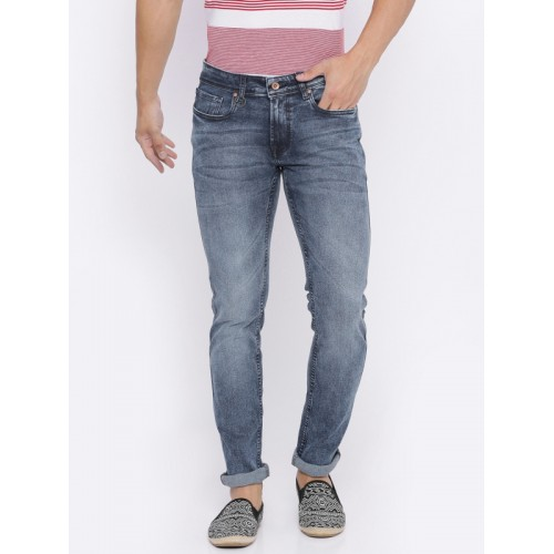 8bb32c16 ... Peter England Casuals Men Blue Skinny Fit Mid-Rise Clean Look  Stretchable Jeans ...