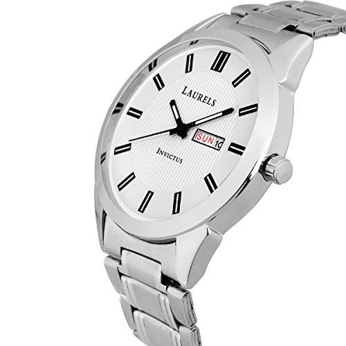 Laurels Invictus Day Date White Dial Men's Wrist Watch- LMW-INC-III-010707