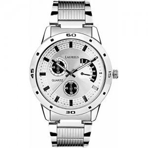 Laurels Silver Color Analog Men's Watch with Metal Chain: LWM-MTX-070707