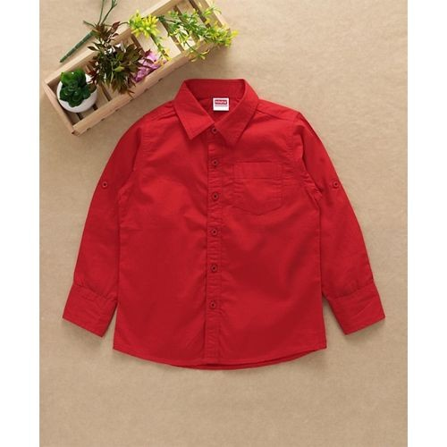 Babyhug Full Sleeves Solid Color Shirt - Red