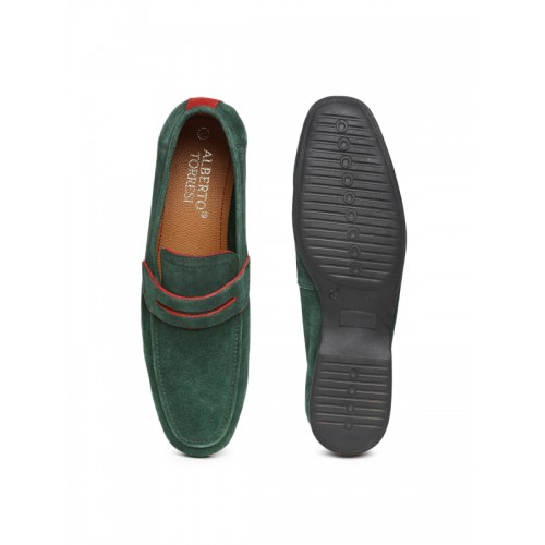 79e17c11c82 Buy Alberto Torresi Men Green Suede Loafers online
