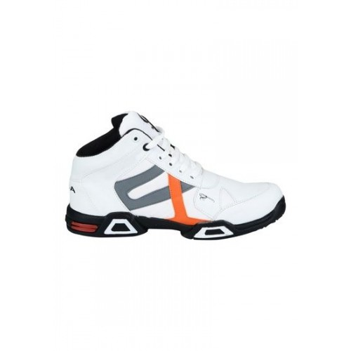 Hillsvog Men's Outdoor Sports White Synthetic Cricket Shoes w/ Rubber Sole