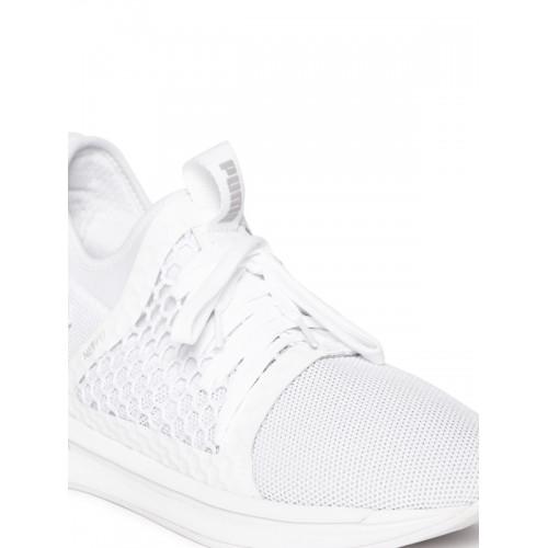 Puma Men White Mesh IGNITE Limitless SR NETFIT Mid-Top Running Shoes ... 59c88a70c