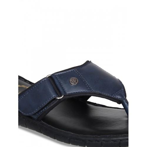 Duke Men Navy Blue & Black Solid Slip-Ons