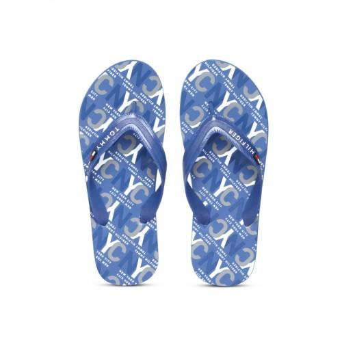 804239efba1a18 Buy Tommy Hilfiger Men Blue Printed Thong Flip-Flops online ...