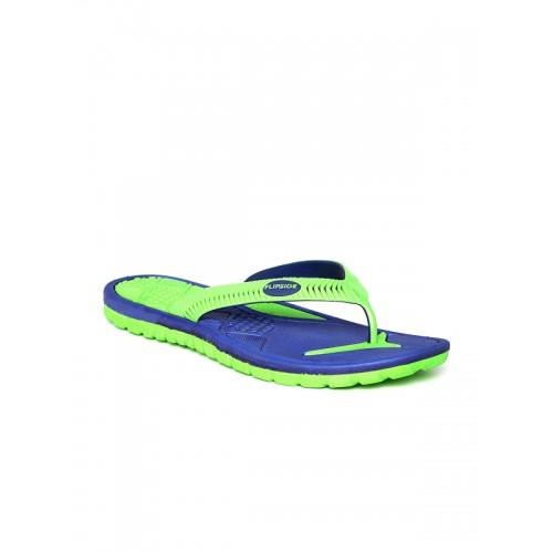 Flipside Men Green & Blue Textured Flip-Flops
