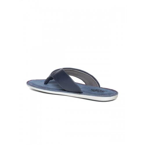 Duke Men Navy Blue Solid Thong Flip-Flops