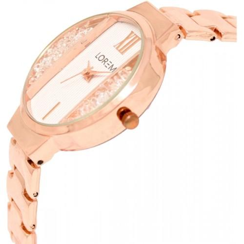 LOREM LR217 Rose Gold Round Metal Watch - For Women