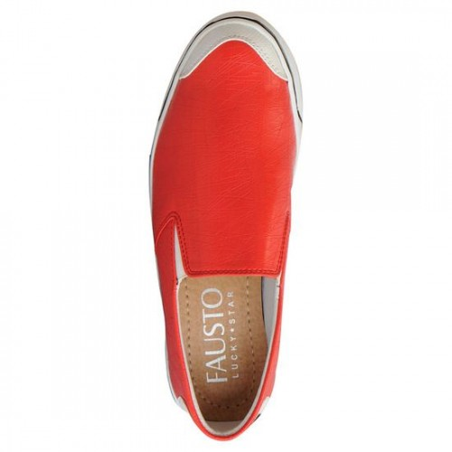 FAUSTO red leatherette casual slipon
