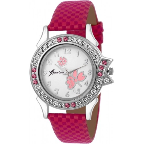 Rich Club Pink Studded Fantastic Watch  - For Women