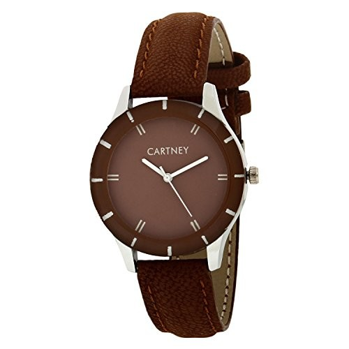 Cartney Analog Brown Dial Women Leather Strap Watch