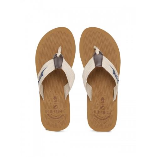Flipside Men Beige & Brown Flip-Flops