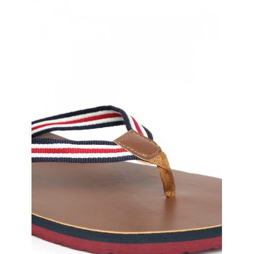 Flipside Men White & Brown Striped Flip-Flops