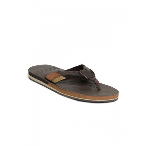 Quiksilver Men Brown Leather Flip-Flops