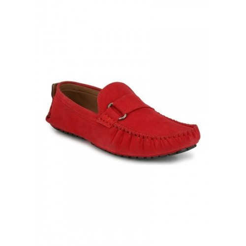 ZebX Men Red Suede Loafers