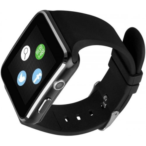 PROMISEDEALS X6 Bluetooth Smart Watch Sim Mobile Wristwatch for Apple iPhone Android Phone With Camera Video recorder Black Smartwatch (Black Strap FREE) BLACK Smartwatch