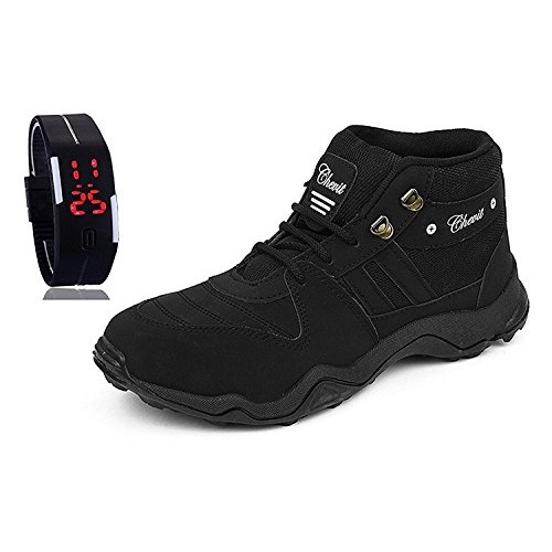 Chevit Men's Stylish 416 Black Tracking Casual Running Shoes with LED Bracelet Watch
