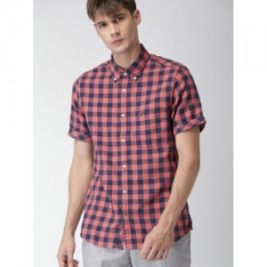Tommy Hilfiger Men Coral Pink & Navy Blue Slim Fit Checked Casual Shirt