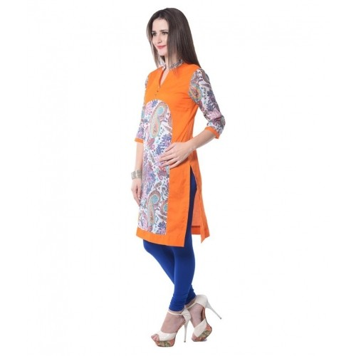 Aairah Orange Cotton Kurti