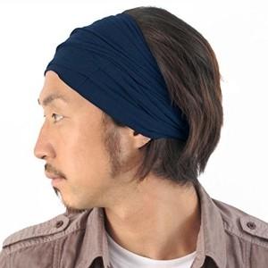 Casualbox mens Elastic Bandana Headband Japanese Long Hair Dreads Head wrap Navy
