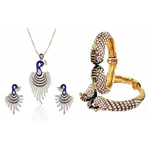 YouBella Women's Pride Collection Combo of Dancing Peacock Bangles and Pendant Set with Chain