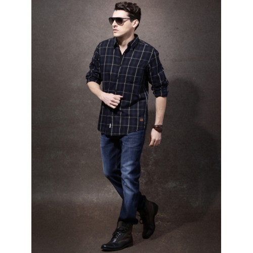 Roadster Men Navy Checked Casual Shirt