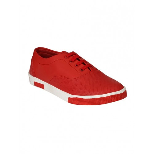 Buy Style Shoe red leatherette lace up