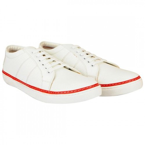 FAUSTO white leatherette lace up sneaker