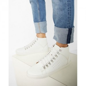 b61d56e21df AJIO High-Top Sneakers with Perforated Panels